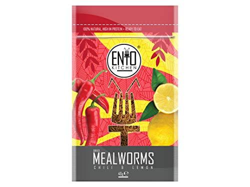 EntoKitchen 40 g de gusanos comestibles con sabor a chili y limón para consumo humano