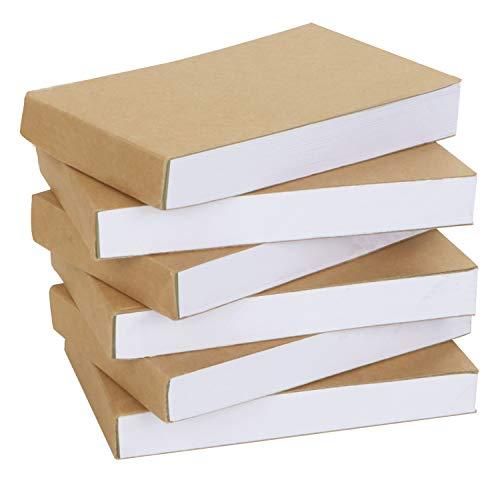 BELLE VOUS Flipbook Papier Kraftpapier Block Blanko (6 STK) – Notizblock 11,5x6,5cm – Notizbuch Klein Mini Notizblock Leer 180 Seiten (90 Blatt) für Daumenkino, Einkaufsliste Block, Zeichnen, Skizzen
