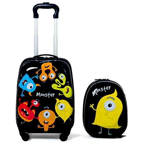 COSTWAY Set 2 Pezzi Bagagli per Bambini con Disegni di Mostri Trolley Bambini da Viaggio Zaino e Valigia con Ruote Dimensioni Zaino: 25 x 31 cm Dimensioni Valigia:46 x 30 x 22 cm
