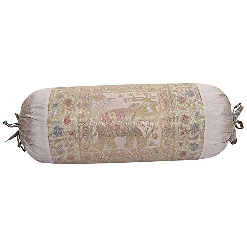 Stylo Culture Indian Polydupion Cylindrical Yoga Bolster Pillow Cover Grey Jacquard...