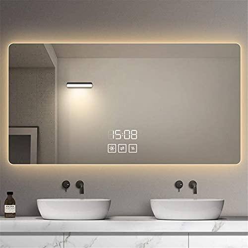 YYHAD Espejo baño, Espejo de baño LED Rectangular, Espejo de Maquillaje Inteligente Anti-Niebla, Toque Regulable, con Lupa de Tiempo y Temperatura, IP44,Espejo de Maquillaje
