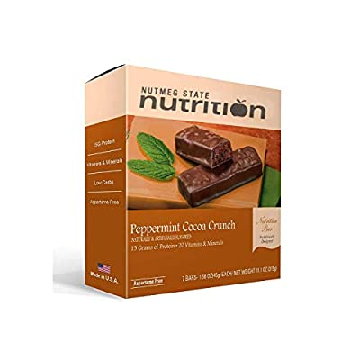 Nutmeg State Nutrition High Protein Snack and Meal Replacement Bar / Diet Bars - Peppermint Cocoa Crunch (7ct) - Trans Fat Free, Aspartame Free, Kosher, High Fiber
