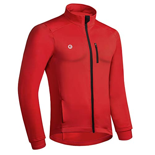 Przewalski Cycling Bike Jackets for Men Winter Thermal Running Jacket Windproof Breathable Reflective Softshell Windbreaker (Large, Red)