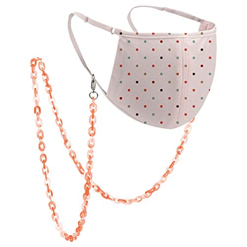 Mask Chains and Cords for Women, Mask Chain Women, MOTOBA Chain for Mask with Clips Around Neck Women (Acrylic Red)