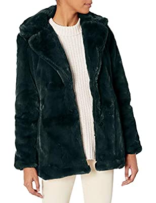 Jessica Simpson Women's Fashion Outerwear Jacket, Cozy Faux Fur Forest Green, L from Jessica Simpson