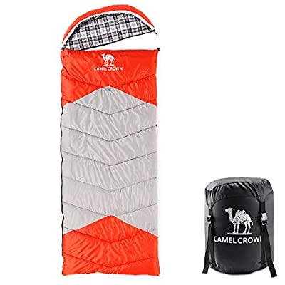CAMEL CROWN Camping Bag Sleeping Bag - 4 Seasons Warm Cold Weather, Portable, Backpacking Hiking Sleeping Bag with Pillow for Camping & Outdoor Adventures