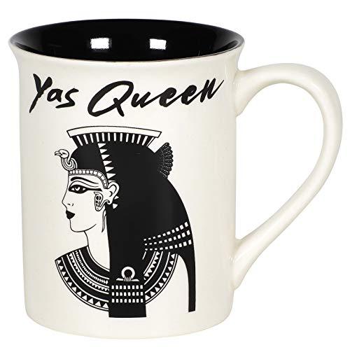 Enesco 6005711 Our Name is Mud Yas Queen Cleopatra - Taza de café, color blanco y negro