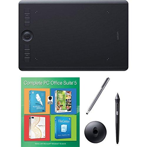 Wacom PTH660 Intuos Pro Medium Creative Pen Tablet, Black Bundle with Corel Paintshop Pro 2018 (Digital Download Card) and Stylus Pen with Pocket Clip