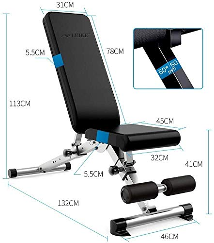 Timtools Weight Bench Dumbbell, Workout Bench Professional Fitness Chair, Delicateness Steel Material Foldable Adjustable Incline Decline Multi Function Press Home Equipment Supine Board
