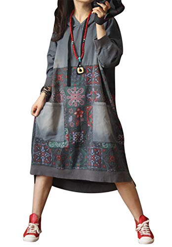 Women Casual Loose Ethnic Floral Hoodies Sweatshirts Jackets (One Size, Grey Style 1)