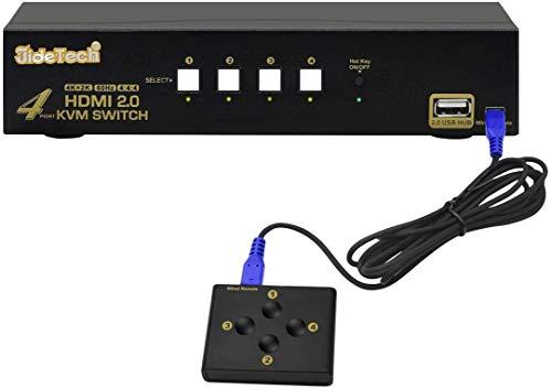 JideTech HDMI KVM Switch USB 4 Port 4k @ 60Hz 4 PC 1 Monitor,Unterstützt 4 Schaltmodi, geeignet für Linux, Windows, Mac, Unix, mit USB 2.0 und HDMI Kabel Kit