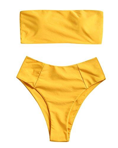 ZAFUL Women's Strapless High Cut Bandeau Bikini Set 2 Piece Swimsuit