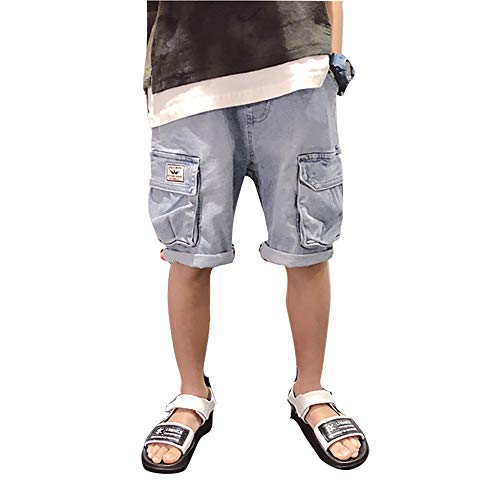 LAPLBEKE Kinder Jungen Knielänge Cargohosen Jeanshose Elastische Taille Shorts Sommer Hose Baumwolle Sommerkleidung Kurze Hosen Blau 146