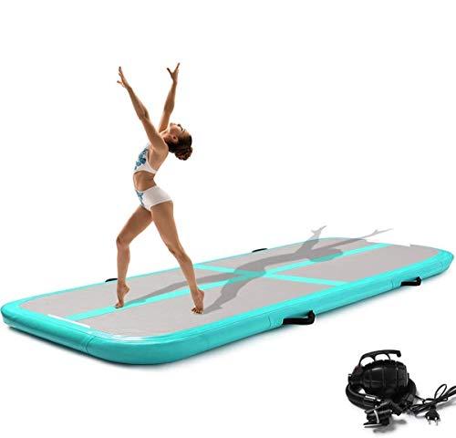 Minetom 300CM Aufblasbare GymnastikTumbling für Tumbling,mit Pumpe Geeignet für Gymnastik, Yoga, Training und Parkour zu Hause,10 cm hoch (Cyan)