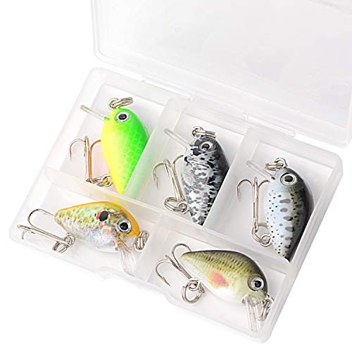 5PCS Crankbaits Fishing Lures Baits, SundayPro Mini Fishing Lure Swimbaits Micro Crank Baits Topwater Lures for Freshwater Saltwater Trout Perch with Box (5pcs Mini-crankbait)