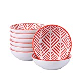 vancasso Momoko Set 8 Pezzi Tapas Vassoi in Porcellana Set di Ciotole Ceramica Combinazione Piattini, Vassoi per Aperitivi e Tapas Fruttiere Insalatiere Colore Rosa