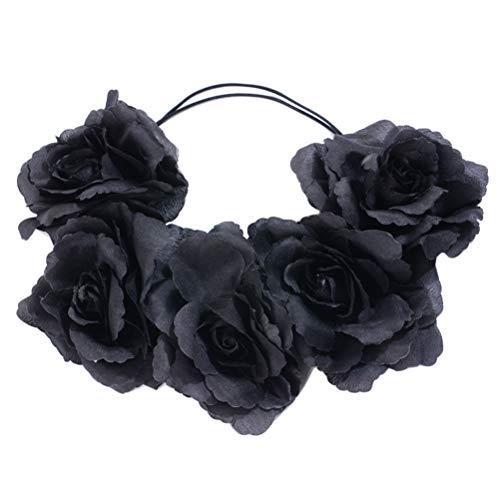 Lurrose Gotico fiore nero rosa fascia regolabile ghirlanda floreale ghirlanda Halloween fiore corona fascia (nero)