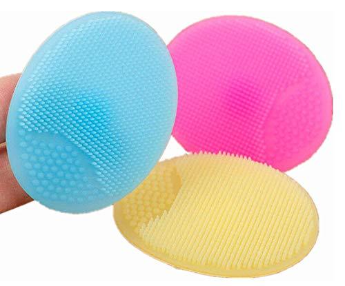Cepillo de limpieza de silicona,3 piezas de cepillo de limpieza facial de silicona suave, cepillo limpiador de maquillaje, almohadilla de limpieza de poros antideslizante de limpieza para muje
