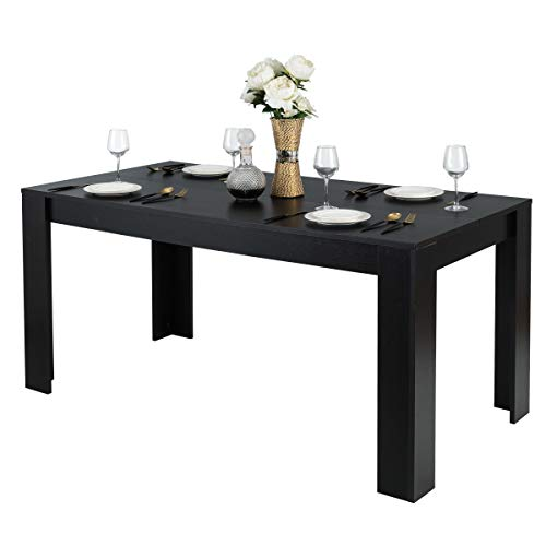 """Giantex Dining Table, Wood Rectangular Table, Modern Counter Height Dining Table 63"""" x 31.5"""" x 30"""", Home Furniture Kitchen Table, Black Dining Room Table for 6 People"""