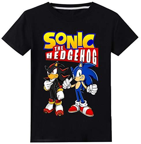 Silver Basic Camiseta de Sonic The Hedgehog para Niños y Niñas Unisex Tamaño de Niño Sonic Ropa para Niños Sonic Cosplay Disfraz para Niños Camiseta de Sonic 150,Negro Sonic Shadow-1