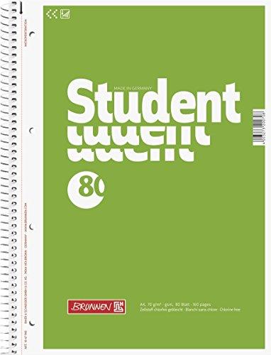 Brunnen 1067940 Notizblock / Collegeblock Student, A4, unliniert, 70g/m², 80 Blatt (10er Pack)