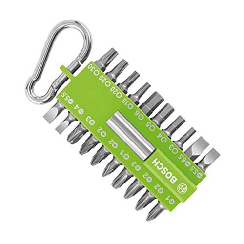Bosch 21-tlgs. Schrauber Bit-Set grün (mit Universal-Bithalter, Karabiner, Zubehör für Akkuschrauber)