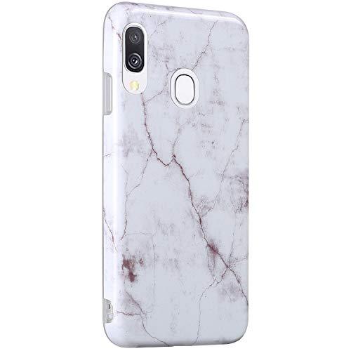 Surakey Cover Compatibile con Samsung Galaxy A40 Custodia Silicone Morbido Dipinto Modello Marmo Case con Flessibile TPU Bumper Moda Ultra Slim Soft Touch Cover per Samsung Galaxy A40,Bianco