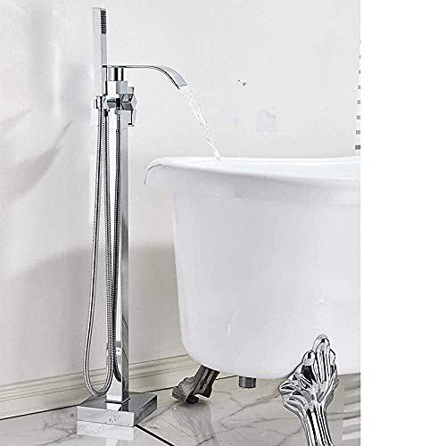 GXYHG Bañera Faucet Piso de pie Bañera Faucet Cuarto de baño Conjunto de baño de la bañera de pie Grifo con la Mano Cascada Teléfono Estilo Lluvia, Chrome