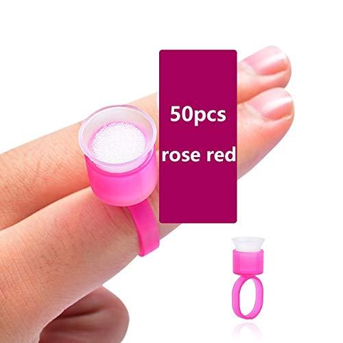 Ssg 100 pcs encre de tatouage Coupes anneau de colle avec une éponge Cap Microblading pigment Coupe Tattoo outil Support permanent Maquillage Accessoires Suppl Nouveau (Color : 50pcs rose red)