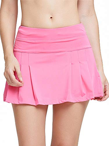 Raroauf Women's Athletic Skorts Lightweight Active Skirts with Shorts Running Tennis Golf Workout Mini Skirt with Pockets Pink Size M