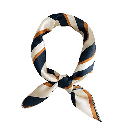 Frauen-Schal-Multifunktions-Seidenschals Satin-kleine quadratische Tücher dünne Retro-Haar-Riegel Griff Tasche Band Bandanas Damen Büro Nickituch (Striped Grün Orange)
