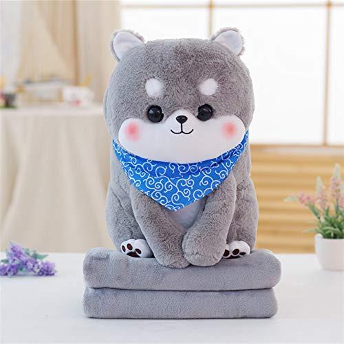 MUSWEET Plush Stuffed Animal Toys Creative Cute Shiba Inu Plush Toy Pillow Blanket Cute Puppy Shiba Inu Doll Blanket Summer Cool Air Conditioning Cushion Blanket