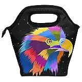 Bolsa de almuerzo colorfull Hawk, reutilizable, aislada, para mujeres, niños, parrillas, almuerzos, preparación de comidas, bolso de mano para la escuela, picnic, oficina