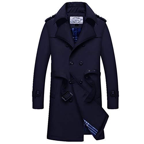 Biddtle Herren Klassisch Trenchcoat Leichtgewicht Kurze Mantel Jacke Umlegekragen Langarm Einreihig Windbreaker,Blau,L