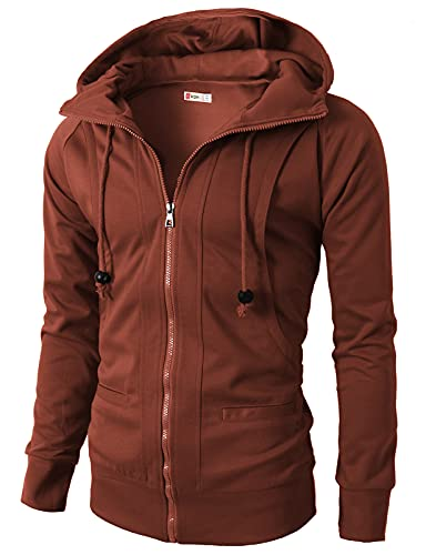 H2H Mens Fashion Lightweight Zip-up Hoodie with Pocket Of Various Colors BROWN US L/Asia XXL (KMOHOL019)