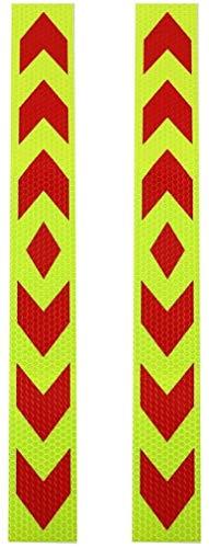 JUZZQ 2 Unids Advertencia Reflectante Adhesivo Adhesivo Adhesivo Etiqueta Engomada para Camión De Coche Verde Rojo, Tamaño: 39 X 4.7cm / 15.35 X 1.85 (l * W)