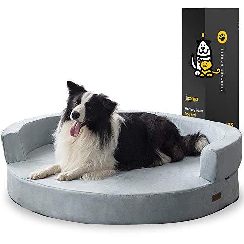 KOPEKS Sofa Redondo Cama Gris para Perro Perros Mascotas Extra Grande XL con Memoria Viscoelástica Colchón Ortopédico 127 cm Diámetro - Round Lounge XL Grey