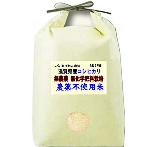 令和2年産 農薬不使用米 滋賀県産 コシヒカリ 5kg 無農薬 / 無化学肥料栽培米 (玄米のまま(5kg))