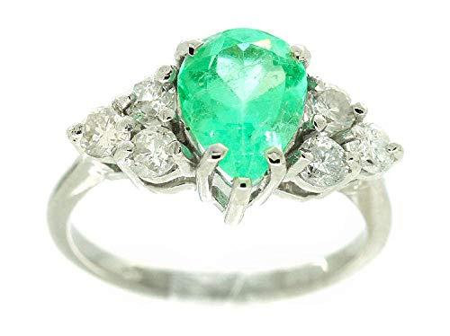 2.43carati Colombiano Smeraldo e Diamante Cluster Anello in oro bianco 14K