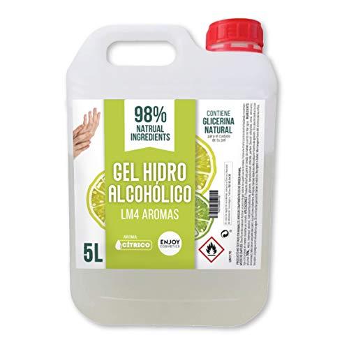 Gel hidroalcohólico de 5000 ml con 70% alcohol y con glicerina NATURAL para el cuidado de la piel. 98% ingredientes Naturales. NUEVOS AROMAS (CITRICO)