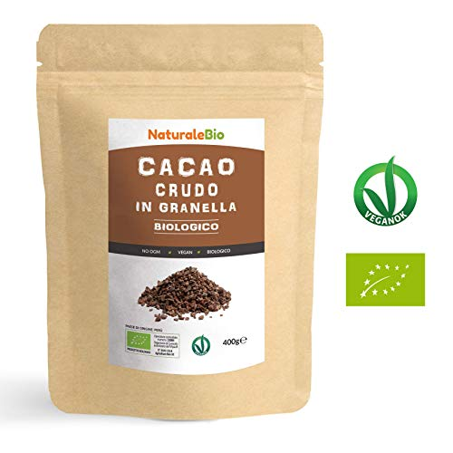 Granella di Cacao Crudo Biologico da 400g. 100% Bio, Naturale e Puro. Prodotto in Perù dalla Pianta Theobroma Cacao. Superfood Ricco di Antiossidanti, Minerali e Vitamine. NATURALEBIO