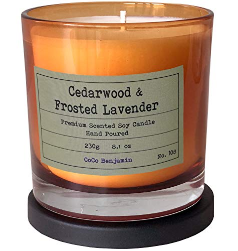Soy Candle , Highly Scented, Hand Poured, 8.1 oz (Cedarwood & Frosted Lavender)