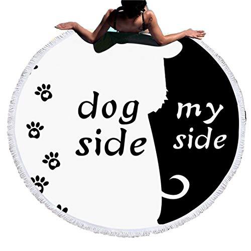Sticker Superb Blanco y Negro Dog Side and My Side Toalla de Playa Redonda con Borlas,Adulto Niño Bebe Manta de Playa Manta de Yoga con Colchas,Viajes/Camping/Bajo Techo(Perro, 150cm)