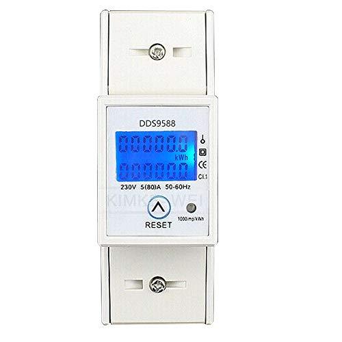 Sun3Drucker LCD Wechselstromzähler Stromzähler 50-60Hz S0 5(80) A KWH für DIN Hutschiene Neu
