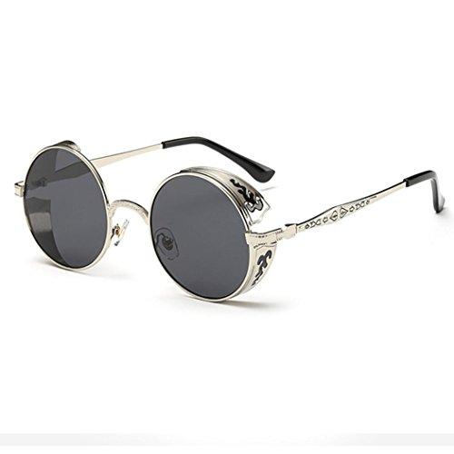 Gusspower Gafas de Sol Redondas Pequeña Polarizadas Lente Retro Espejo Círculo Marco de Metal Hombre Mujer