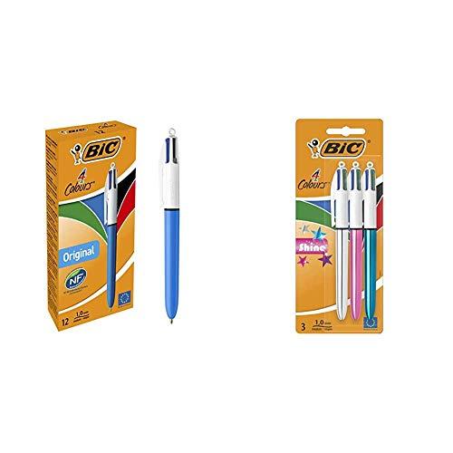 BIC 8934642-4 Original bolígrafos Retráctiles punta media (1,0 mm) – Caja de 12 unidades + 4 Shine Bolígrafo Retráctil punta media (1,0 mm) – Metálicos Surtidos, Blíster de 2+1