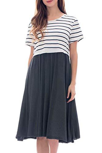 Smallshow Damen Lässiges Kurzarm Stillkleid Umstandskleid für Stillen White Stripe/Deep Grey X-Large