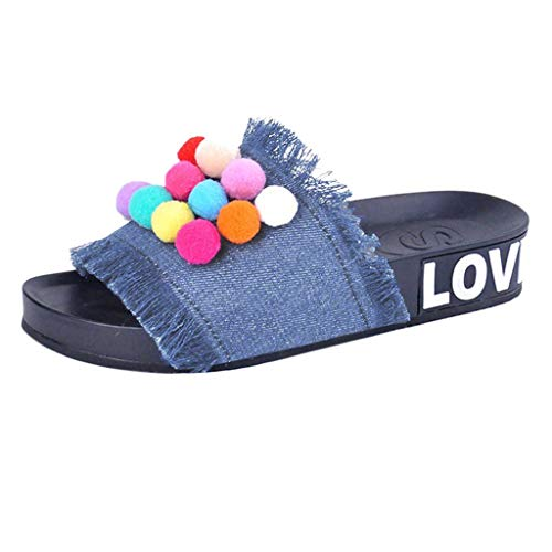 ZIYOU Frauen Hausschuhe Blockabsatz Sandalen Denim mit Farbe Hairball Sommer Freizeit Flache Flip Flops Schuhe(Himmelblau,38 EU)