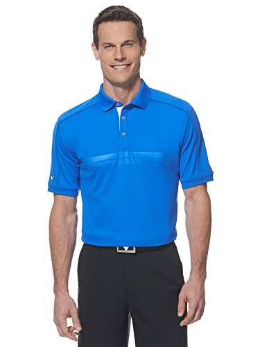 Callaway Men's Golf Short Sleeve Embossed Athletic Polo Shirt,...