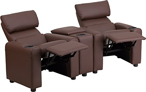 """28"""" Kid's Brown Leather Reclining Theater Seating w/ Storage Console (1 Set) - FF-BT-70592-BN-LEA-GG"""